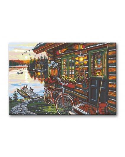 Malowanie po numerach – Chata nad jeziorem i rower