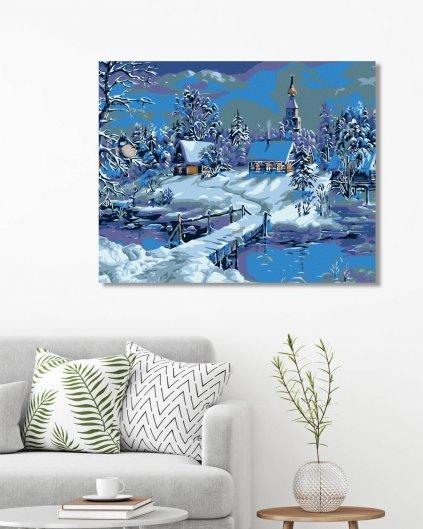 Malowanie po numerach – Wiejski zimowy krajobraz