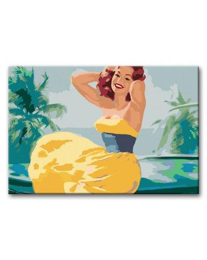 Malowanie po numerach – Kobieta w żółtej sukience