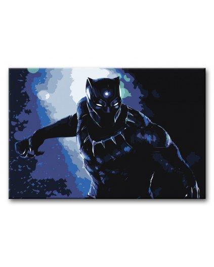 Malowanie po numerach – Czarna pantera na niebieskim tle