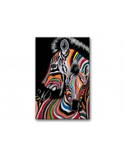 Malowanie po numerach – Kolorowa zebra na czarnym tle