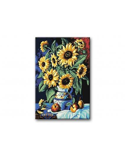Malowanie po numerach - Słoneczniki w białym wazonie