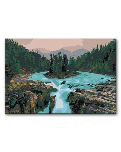 Malowanie po numerach - Wodospady w dolinie