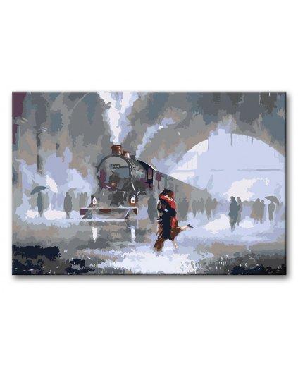 Malowanie po numerach – Pocałunek na pożegnanie na stacji