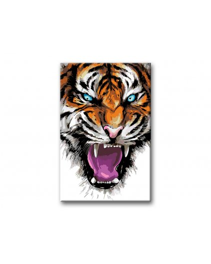 Malowanie po numerach – Rozwścieczony tygrys