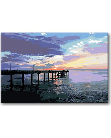 Malowanie po numerach – Molo w zachodzie słońca