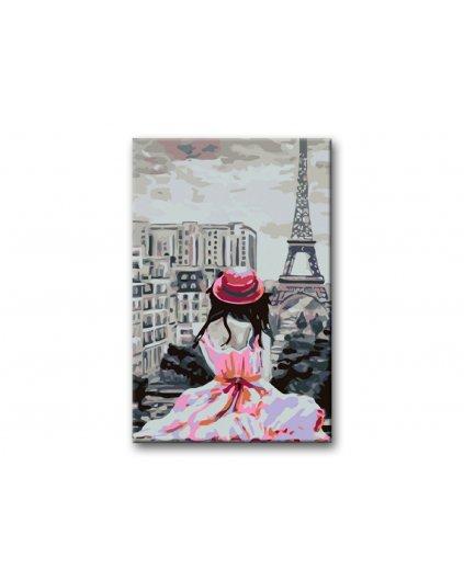 Malowanie po numerach - dziewczyna w kapeluszu i wieża Eiffla