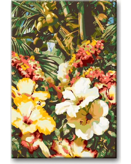 Malowanie po numerach – Hibiskus pod palmami