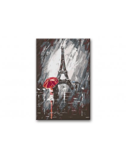 Malowanie po numerach - Kochankowie w deszczu pod Wieżą Eiffla
