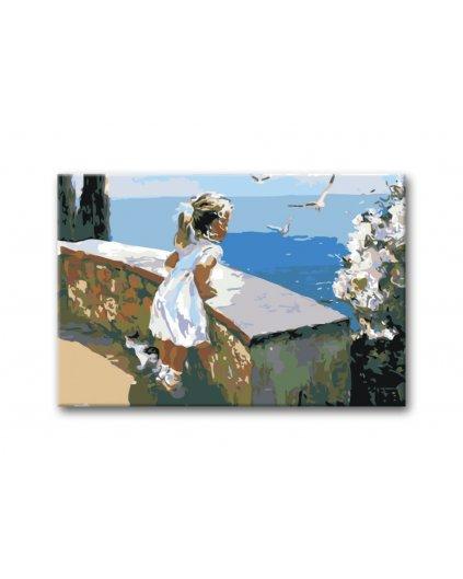 Malowanie po numerach - mała dziewczynka z kotkiem nad morzem