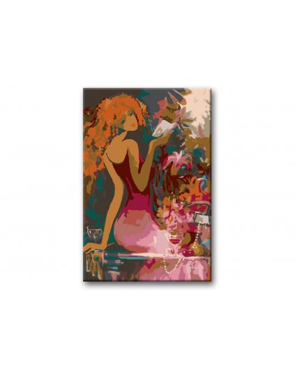 Malowanie po numerach - Kobieta z książką wśród kwiatów