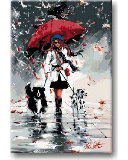 Malowanie po numerach - Na spacerze z psami w deszczu