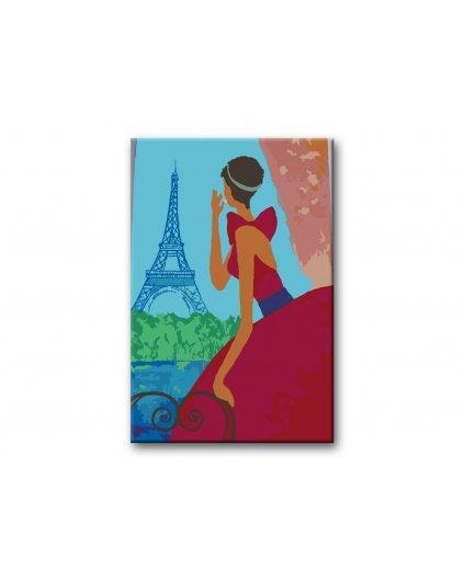 Malowanie po numerach - Kobieta w czerwieni i Wieża Eiffla