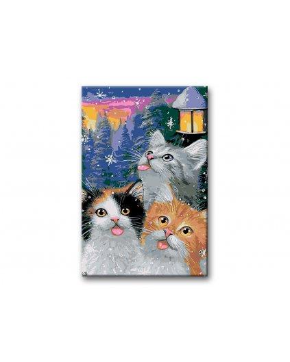 Malowanie po numerach – Kocięta na śniegu