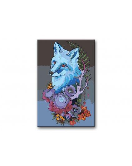 Malowanie po numerach – Niebieski lis i kwiaty