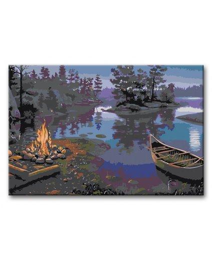 Malowanie po numerach - Ognisko nad jeziorem