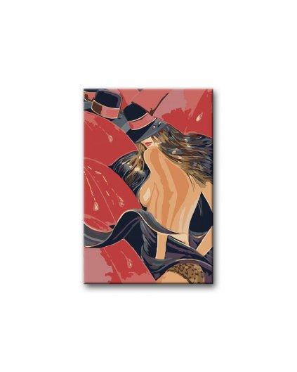Malowanie po numerach – Kobieta w kapeluszu w parasolach