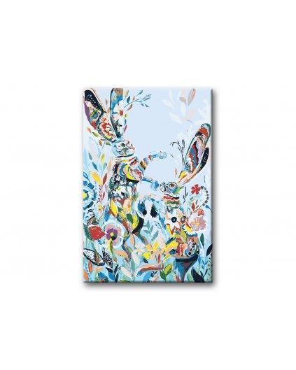 Malowanie po numerach – Malowane króliki na łące