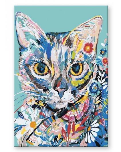 Malowanie po numerach – Kotek w kwiaty