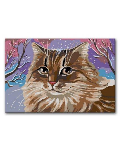 Malowanie po numerach – Bury kot w zimie