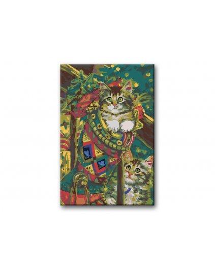 Malowanie po numerach - Kocięta w skarpecie