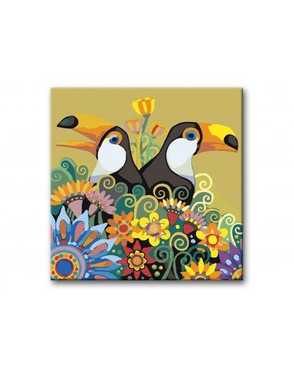 Malowanie po numerach – Tukany z kwiatami