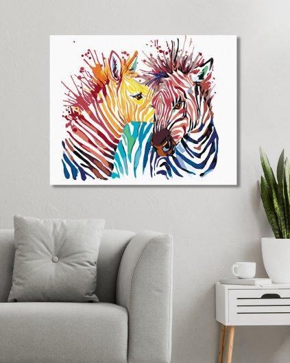 Malowanie po numerach - Kolorowa zebra