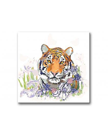 Malowanie po numerach - Tygrys i irysy