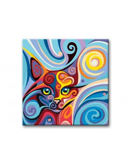 Malowanie po numerach - Kot w kolorach