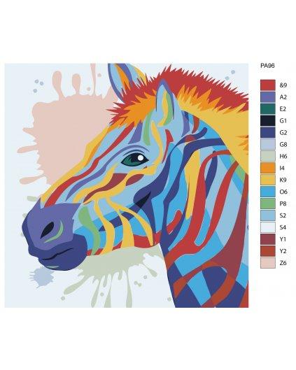 Malowanie po numerach - Zebra w kolorach