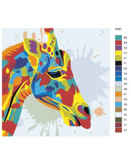 Malowanie po numerach - Kolorowa żyrafa na białym tle