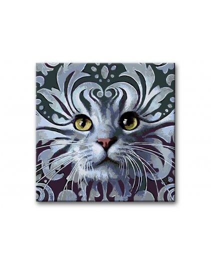 Malowanie po numerach - Kot z ornamentem
