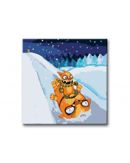 Malowanie po numerach – Szalone koty na śniegu