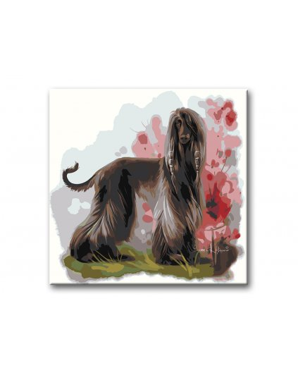 Malowanie po numerach – Greyhound w ogrodzie
