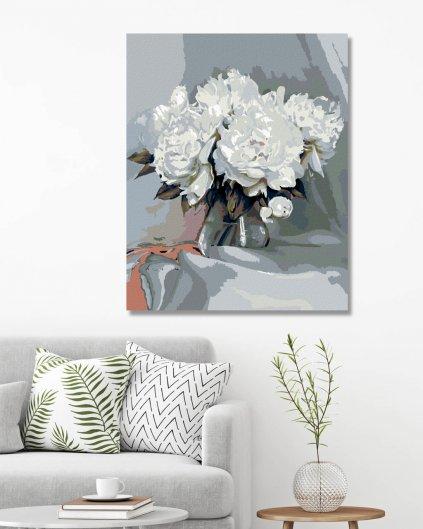 Malowanie po numerach - Białe piwonie