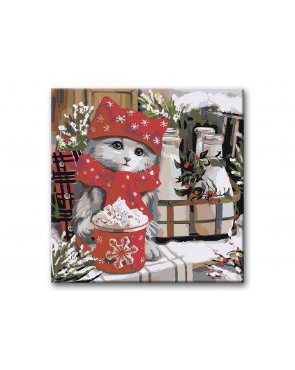 Malowanie po numerach - Kotek w Boże Narodzenie