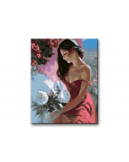 Malowanie po numerach – Kobieta na oknie i bukiet kwiatów