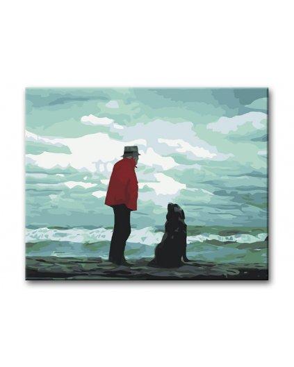 Malowanie po numerach – Stary człowiek i pies