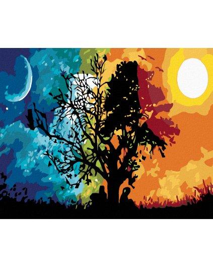 Malowanie po numerach - Drzewo dzień i noc