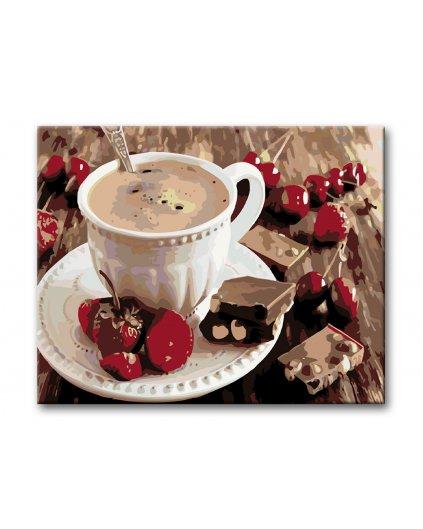 Malowanie po numerach – Kawa z truskawkami i czekoladą