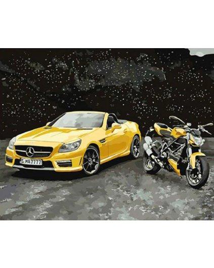 Malowanie po numerach – Żółty Mercedes i motocykl