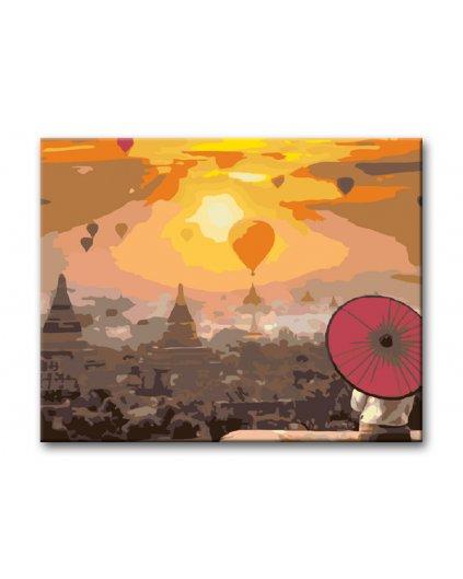 Malowanie po numerach – Balony w zachodzie słońca
