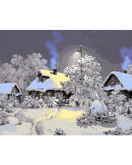 Malowanie po numerach – Zimowa wioska śpi