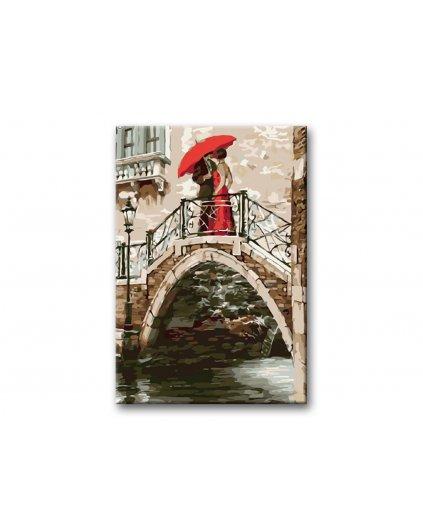 Malowanie po numerach – W Wenecji na moście z parasolem