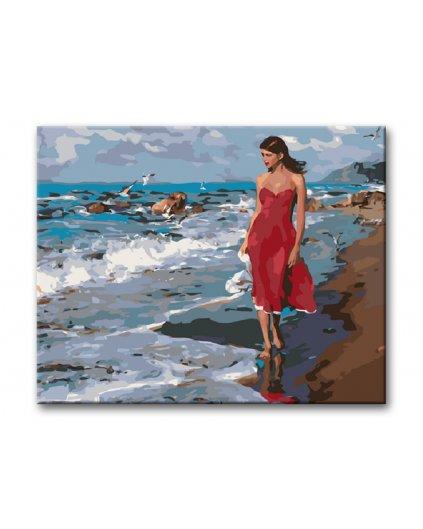 Malowanie po numerach – Kobieta w czerwonej sukni na plaży