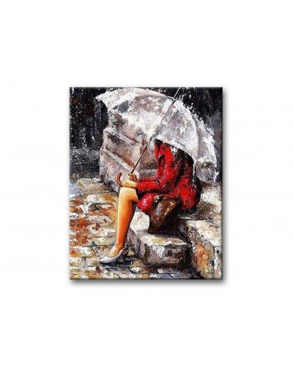 Malowanie po numerach - Kobieta w deszczu