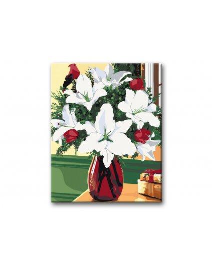 Malowanie po numerach – Białe lilie w wazonie