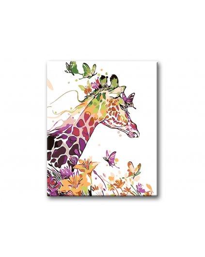 Malowanie po numerach - Żyrafa i motyle
