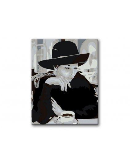 Malowanie po numerach - Dama w kapeluszu na kawie