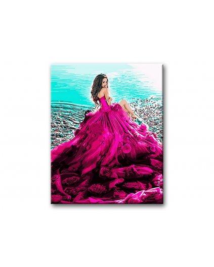 Malowanie po numerach - Dziewczyny na plaży w pięknej sukni